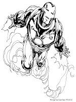 Gambar Mewarnai Iron Man Terbang Diangkasa