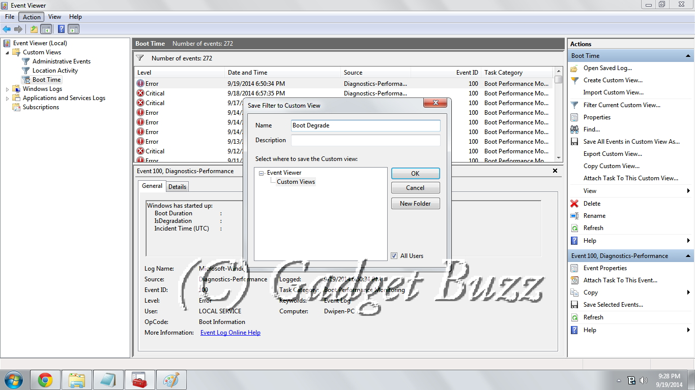 how to go to event viewer in windows 7