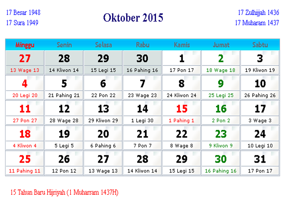 kalender indonesia oktober 2015 kalender indonesia 2017. Black Bedroom Furniture Sets. Home Design Ideas