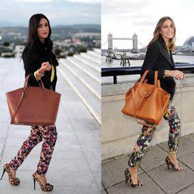 Olivia Palermo Floral Pants + Leopard Pumps