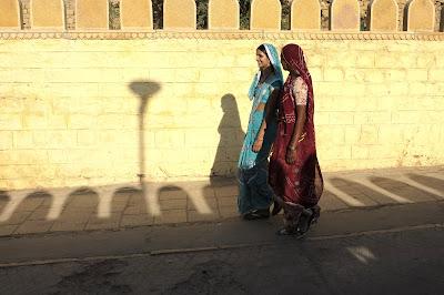 Girls walking to the lake