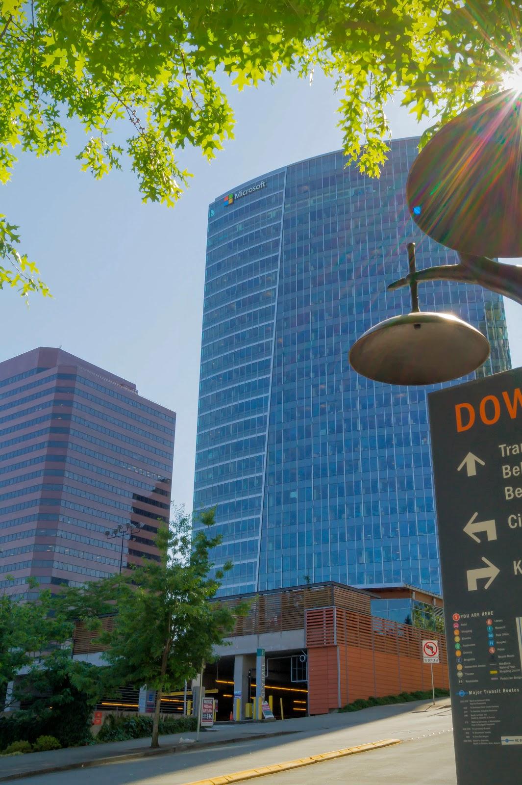 Первое, что бросается в глаза при въезде в центр города, - небоскрёб Майкрософт, крупнейшее представительство компании с количеством сотрудников 7500 человек.