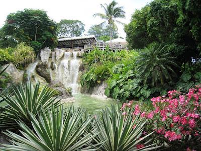 Vue sur le restaurant panoramique et la cascade du jardin