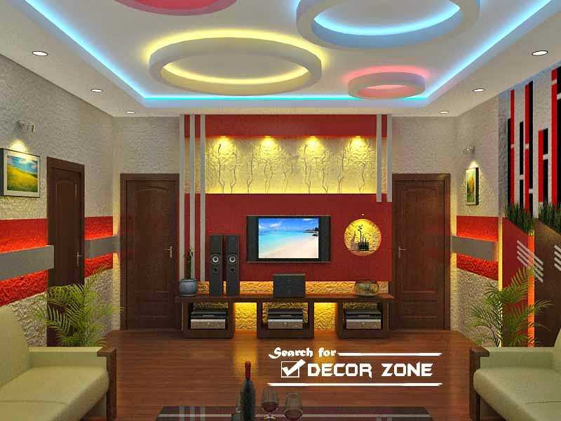 living room false ceiling designs with colorful POP circles - 25 Modern POP False Ceiling Designs For Living Room