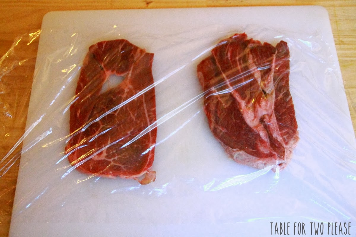 Steak covered in plastic wrap | Table for Two, please?