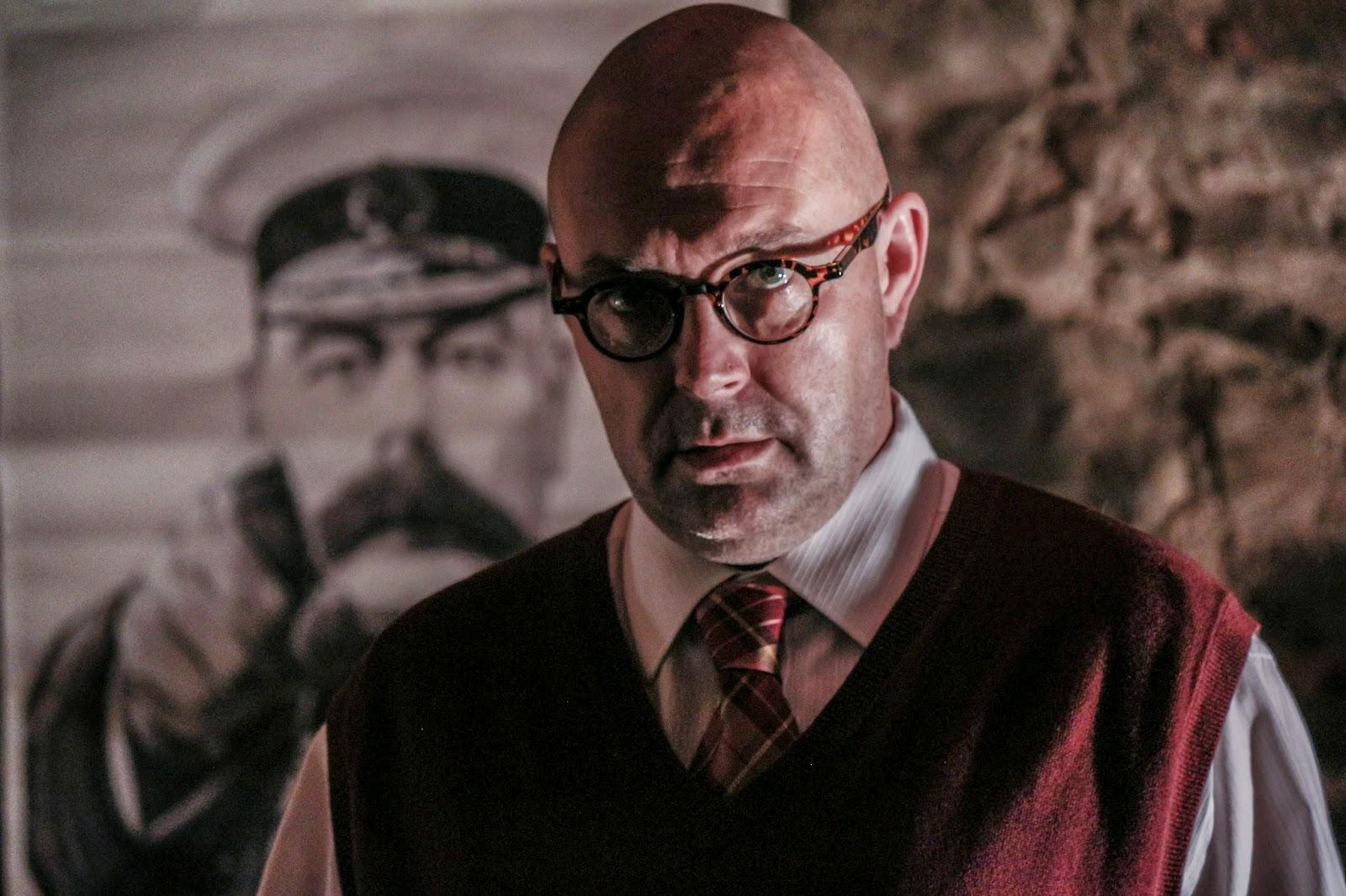 Midge Mullin as John Christie in Howard Brenton's Christie In Love - Substance and shadow theatre - photo by Benjamin Akira Tallamy