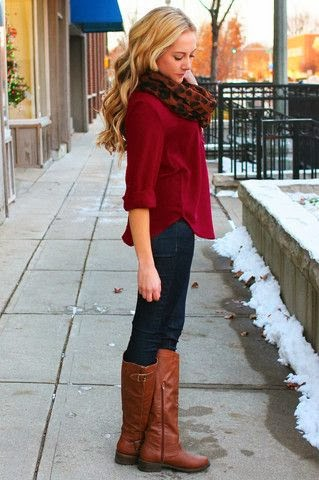 scarf shirt jeans longboots