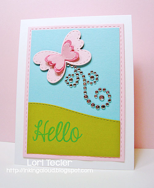 Hello card-designed by Lori Tecler/Inking Aloud-stamps and dies from Lil' Inker Designs