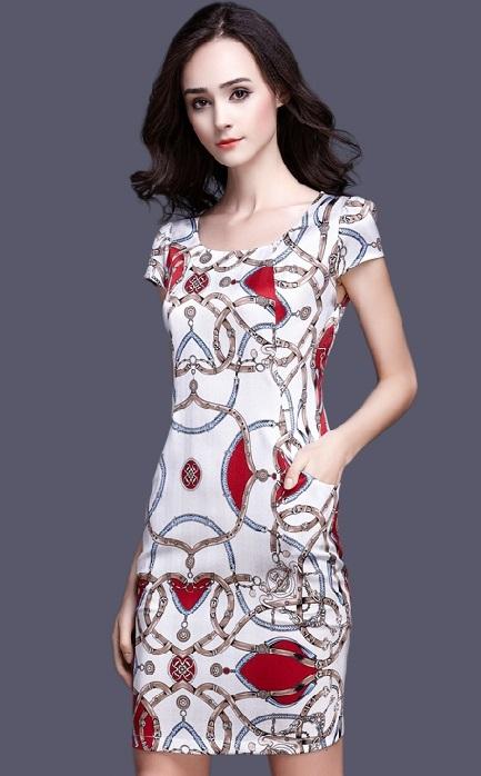 Iconic Belt Print Pure Silk Midi Dress