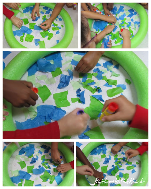 Earth Day collaborative project: pool noodle and tissue paper, kindergarten bulletin board for spring