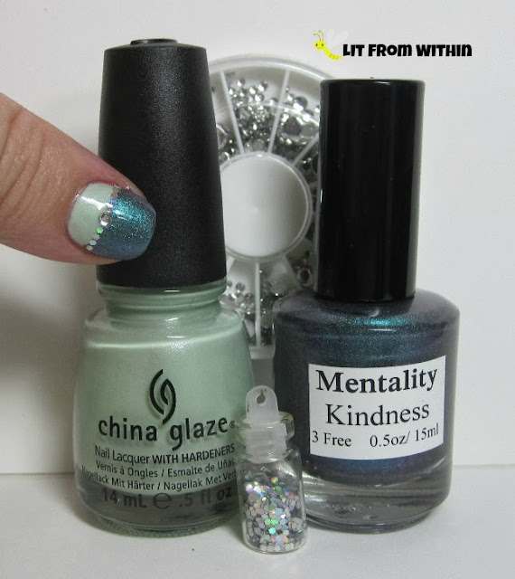 Bottle shot: China Glaze Keep Calm..Paint On, Mentality Kindness, rhinestones from Cult Nails, and glitter.