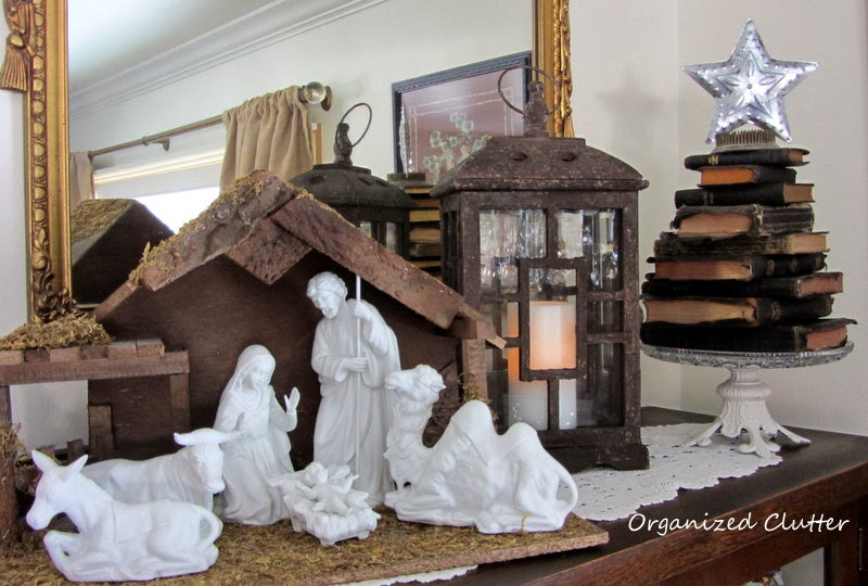 Stacked Bible Christmas Tree & the Nativity Set www.organizedclutterqueen.blogspot.com