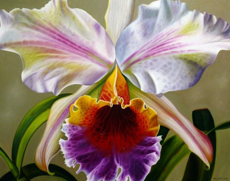 pinturas de flores cuadro con flores pintado al leo sobre lienzo pinturas flores leo pintor ellery gutierrez orqudea pintada en leo
