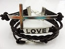 Image: Caetle(TM) Vintage Silver Cross Bracelet Infinity Love Black Leather Rope Infinite Bangle