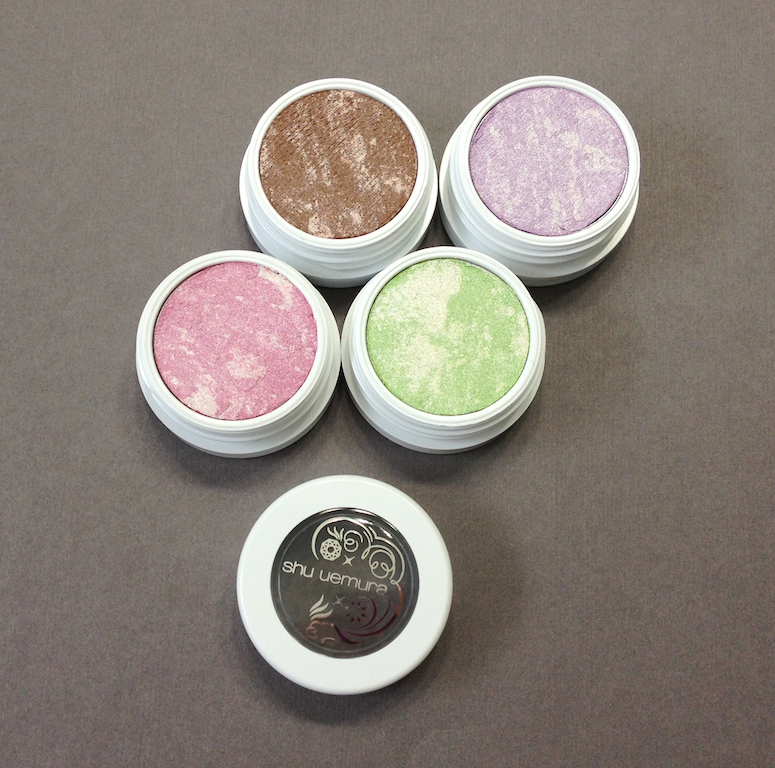 Shu Uemura Bijoux Silk Cushion Eyeshadows in Amber Brown, Amethyst Purple, Peridot Green, Morganite Pink