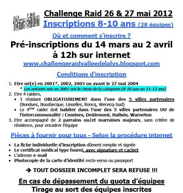 challenge raid vallee de la lys inscriptions 2012 les modalit s 8 10 ans. Black Bedroom Furniture Sets. Home Design Ideas