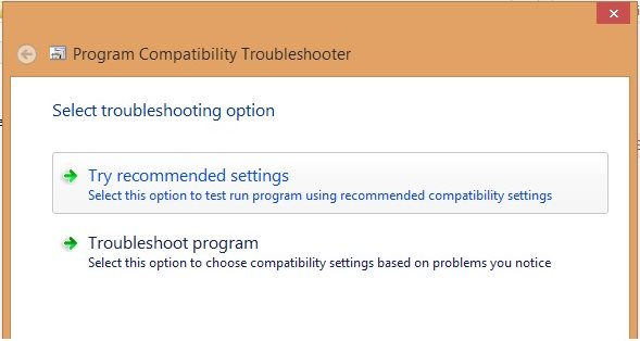 Try recommended settings windows 8 option