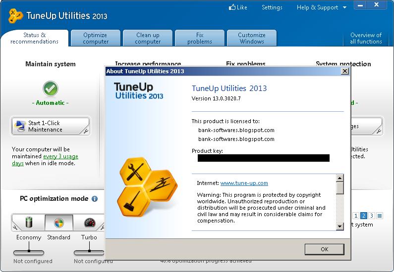 Genuine Key Of Tuneup Utilities 2013