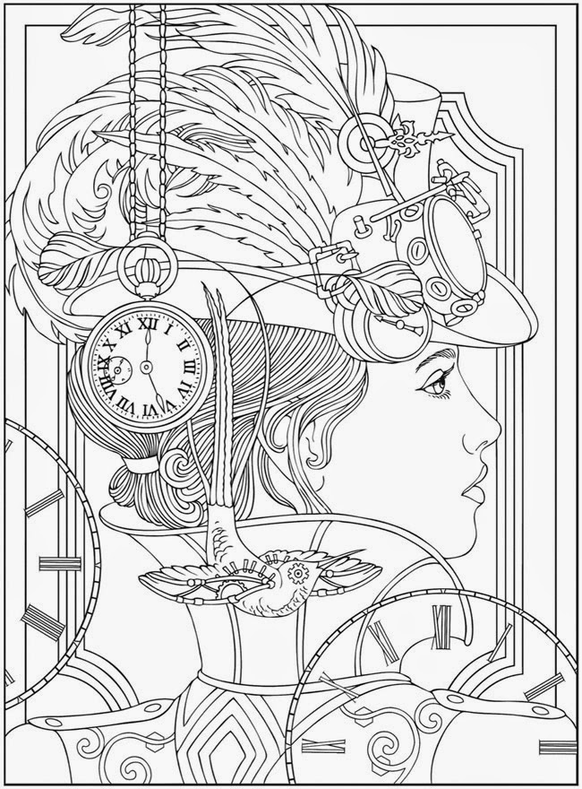 victorian steampunk coloring pages - photo#8