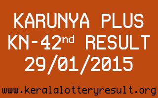 Karunya Plus Lottery KN-42 Result 29-01-2015