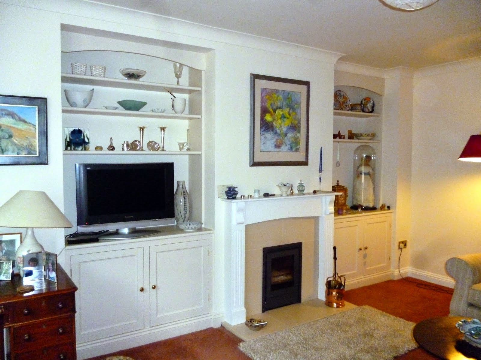 sitting room cupboards and shelves