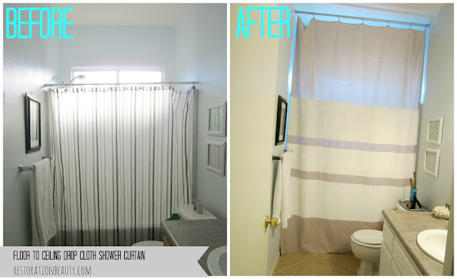 restoration beauty floor to ceiling drop cloth shower curtain. Black Bedroom Furniture Sets. Home Design Ideas