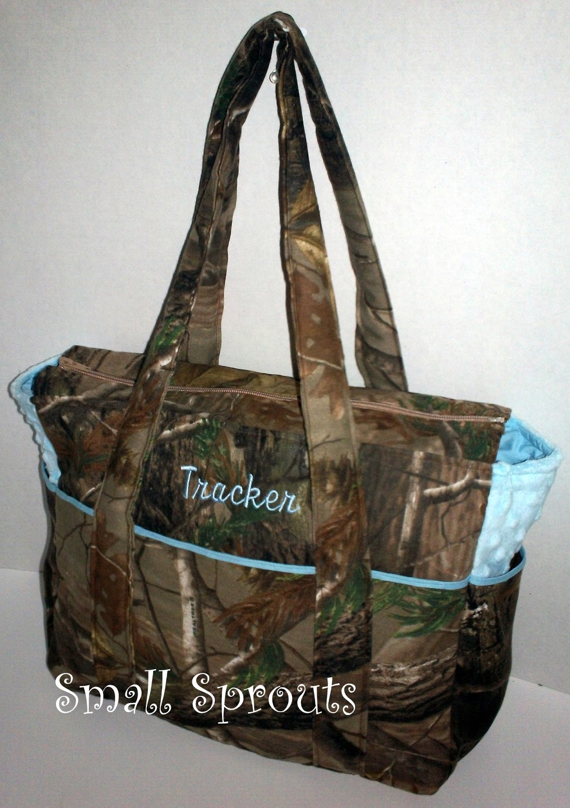 Small Sprouts: Real Tree AP Camo Light Blue Fancy Diaper Bag