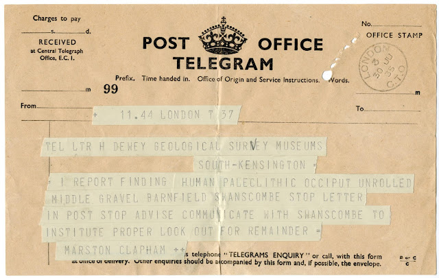 Telegram announcing discovery of 'Swanscombe Man'