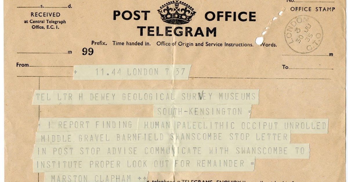 BGS Geoheritage – images from the collections: Telegram announcing ...