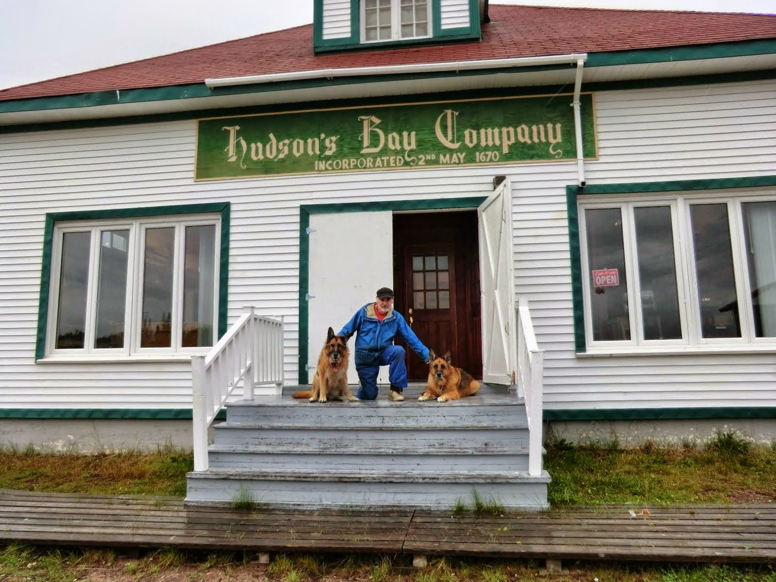 Leben and Erde (with me) at the end of the road in the northeast in Labrador, 2011