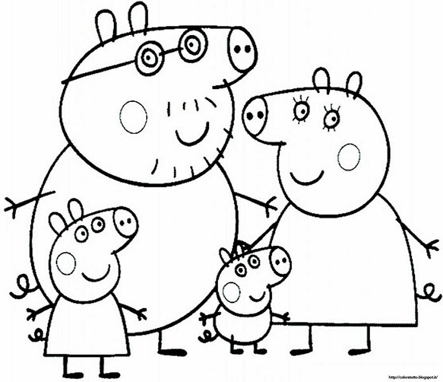 peppa pig para colorear.  Peppa Pig Family Coloring Pages Colorings net