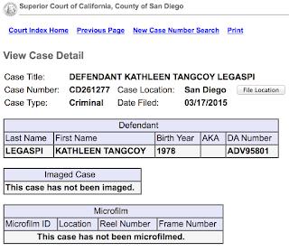 Kathleen Legaspi San Diego Criminal Court Case