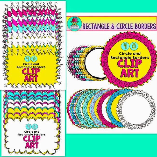 http://www.teacherspayteachers.com/Product/Circle-Rectangle-Swirl-Borders-for-Product-Use-Yellow-Pink-Blue-Blacklines-1391701