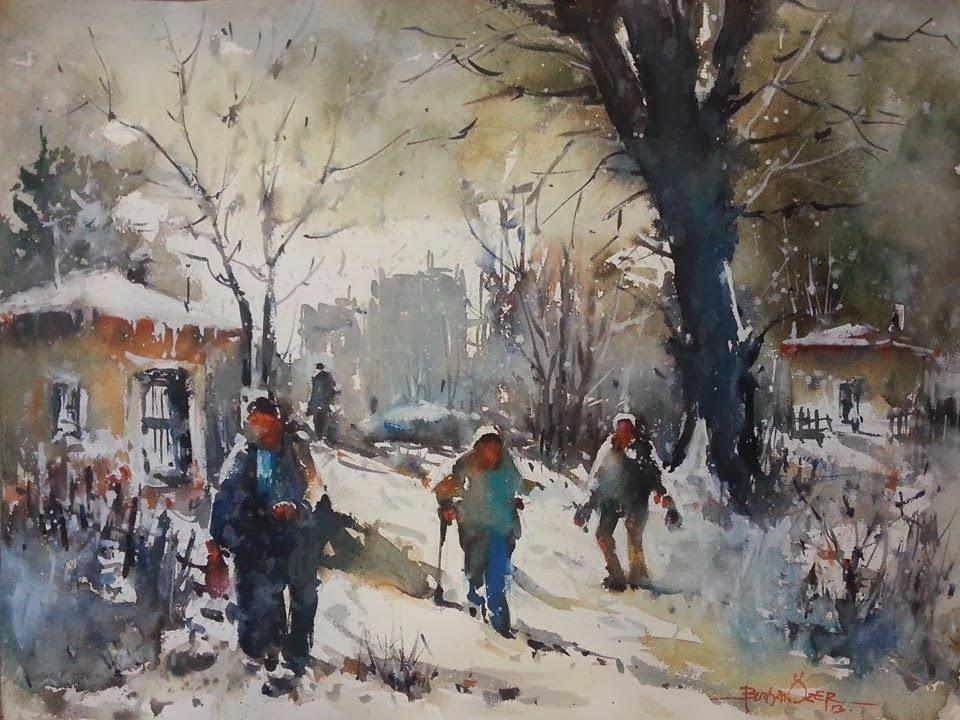 Ressam Burhan Özer-Suluboya-