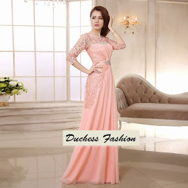Classy Three Quarter Sleeve Sequin Embroidery Crochet Pink Maxi Dress