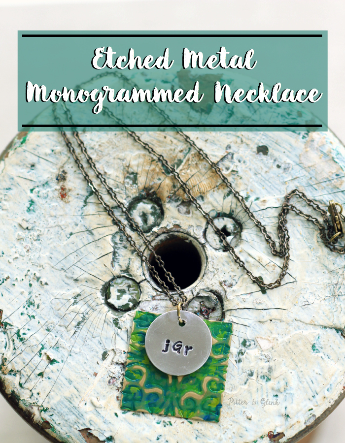 Etched Metal-Stamped Monogram Necklace www.pitterandglink.com