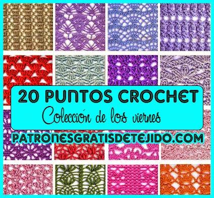 Patrones esquemas de símbolos de 20 puntadas crochet
