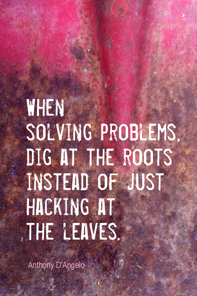 visual quote - image quotation for PROBLEMS - When solving problems, dig at the roots instead of just hacking at the leaves. - Anthony D'Angelo