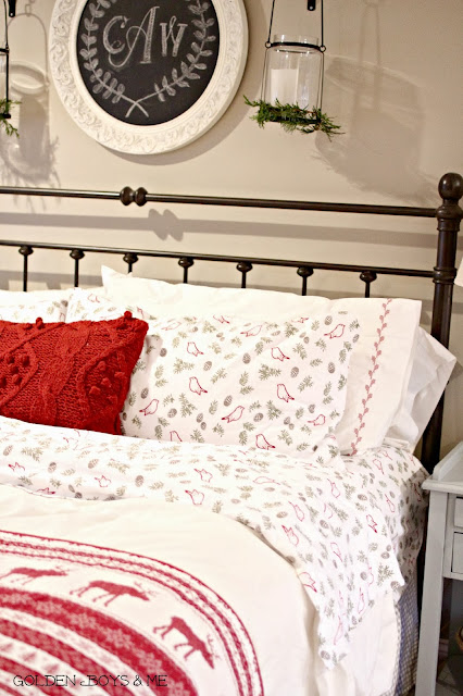 Flannel sheets Target in Christmas master bedroom-www.goldenboysandme.com