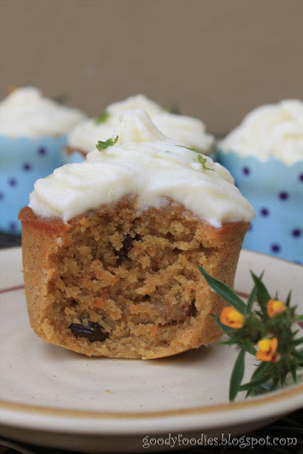 ... baked: Carrot cupcakes with lime mascarpone cream frosting