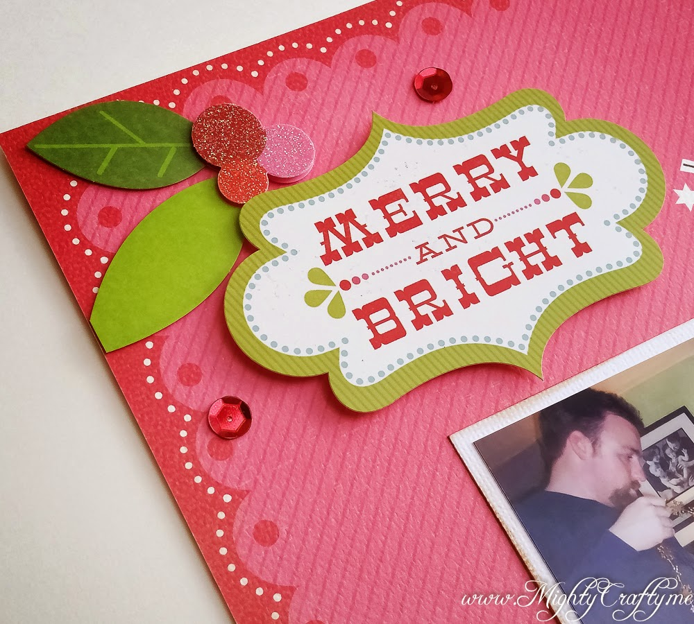 Merry & Bright layout for Sketch N Scrap challenge #70 -- www.MightyCrafty.me