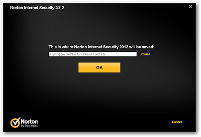 The destination path where Norton Internet Security 2012 beta will be installed