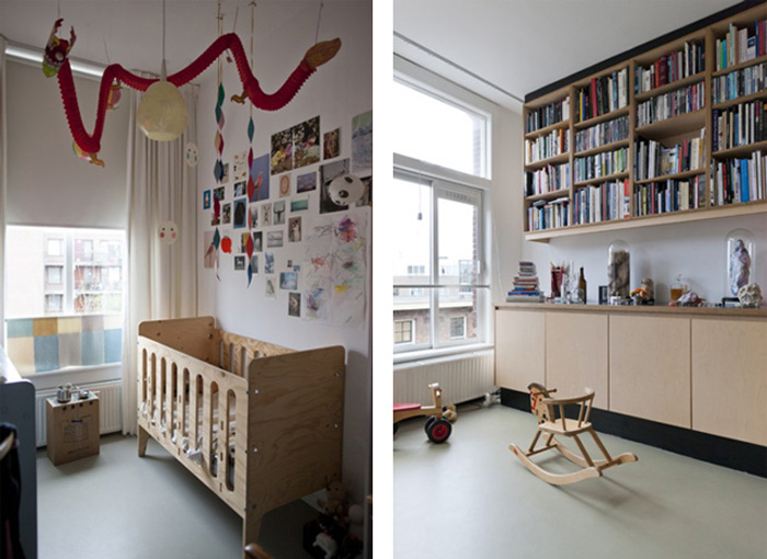 Amie Dicke Amsterdam apartment daughter's room and open kitchen