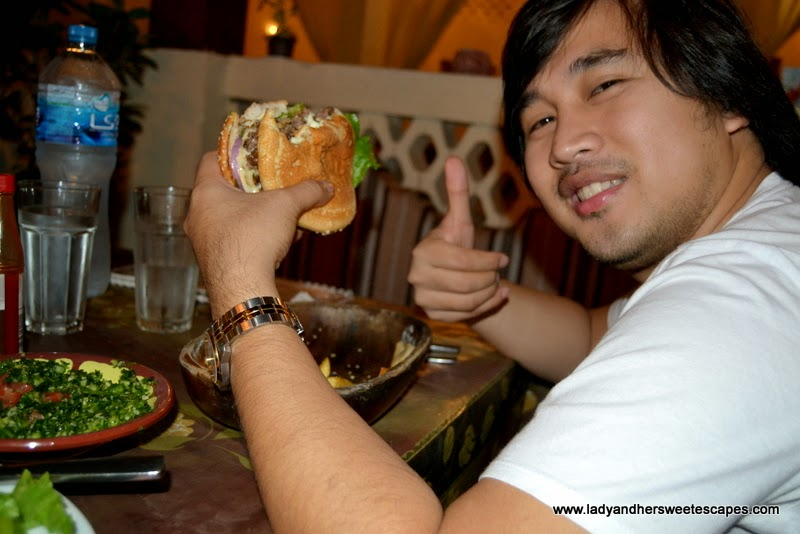 Ed eating Camel Burger at Local House in Bastakiya Dubai