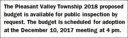 12-10 Pleasant Valley Township 2018 Proposed Budget Notice