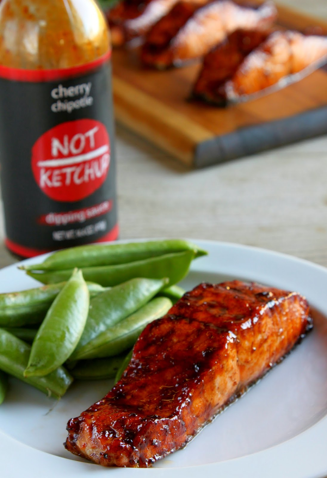 Glazed salmon fillets with Cherry Chipotle Not Ketchup