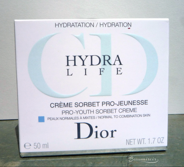 Hydra Life Pro-Youth Sorbet Creme, skincare by Dior. Moisturizing cream-gel for face for normal to combination skin.