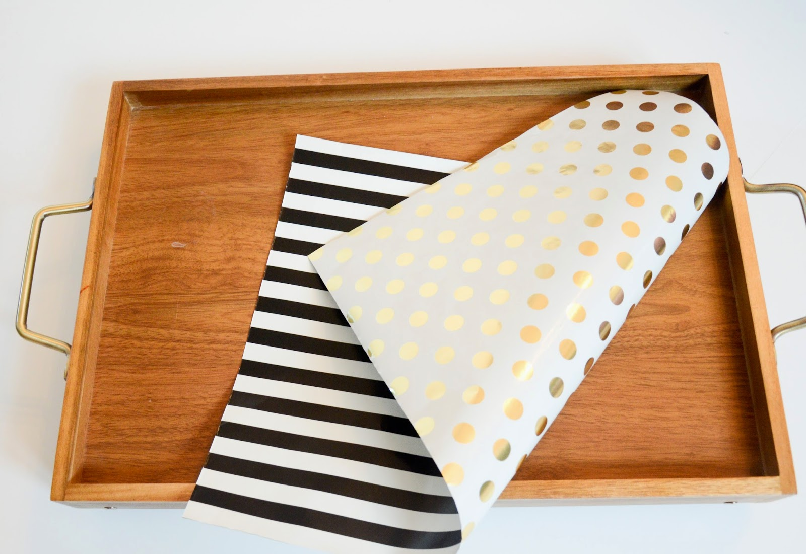 DIY tray liner with double sides Kate Spade double sided wrapping paper - Gold Polka dots and black and white stripes