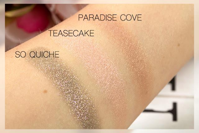 colourpop so quiche teasecake paradise cove swatches