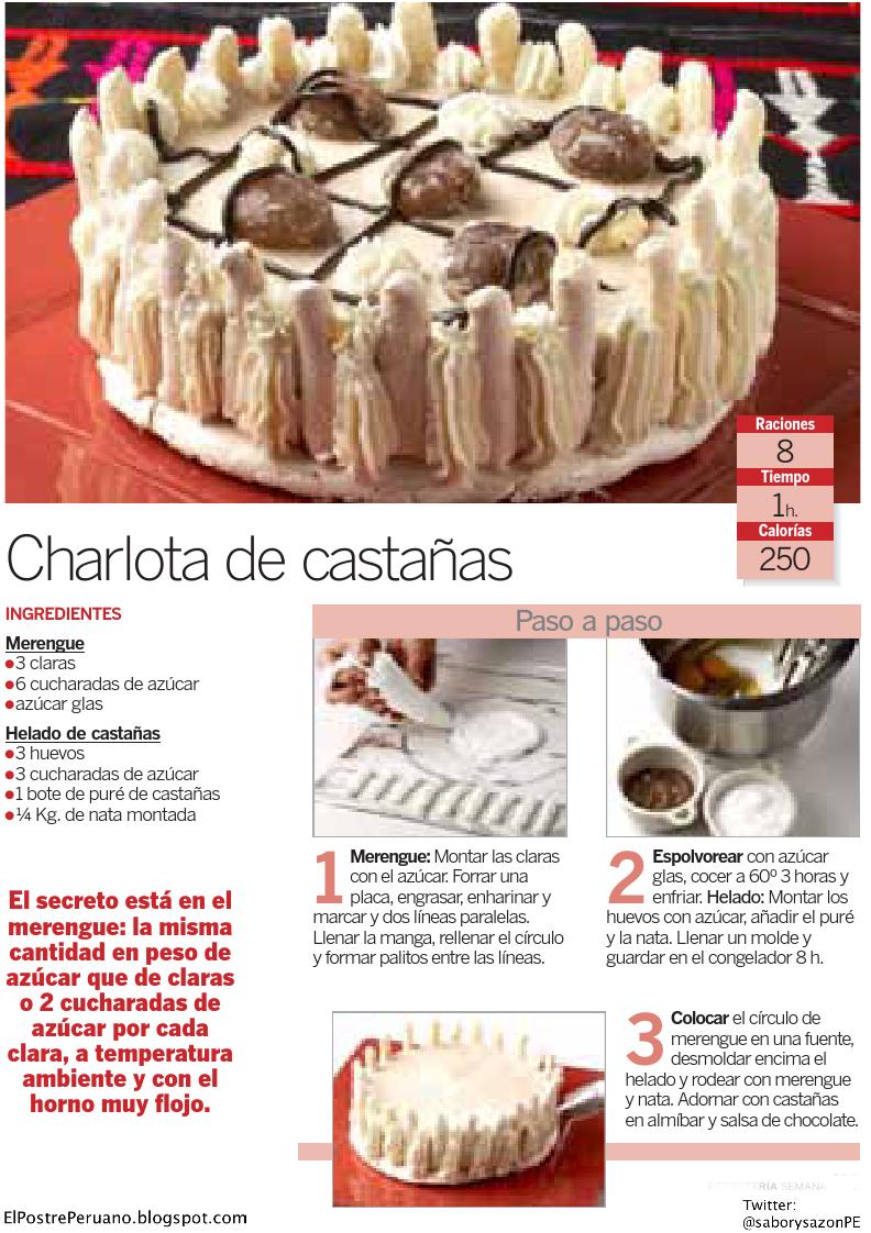 como preparar RECETAS SENCILLAS DE POSTRES : CHARLOTA DE CASTAÑAS